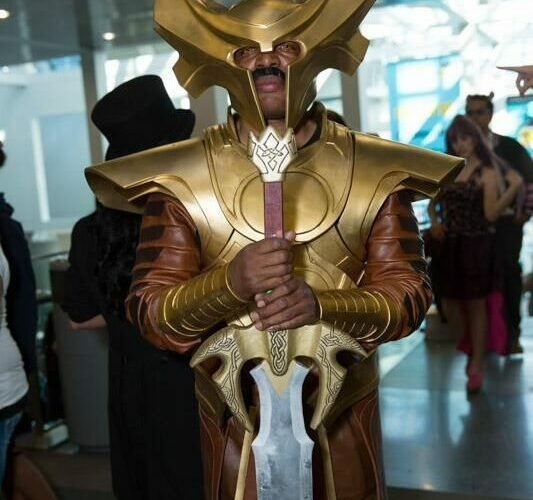"""Heimdall watches over the entrance to Comikaze. cosplay"""" Pantheon Films"""