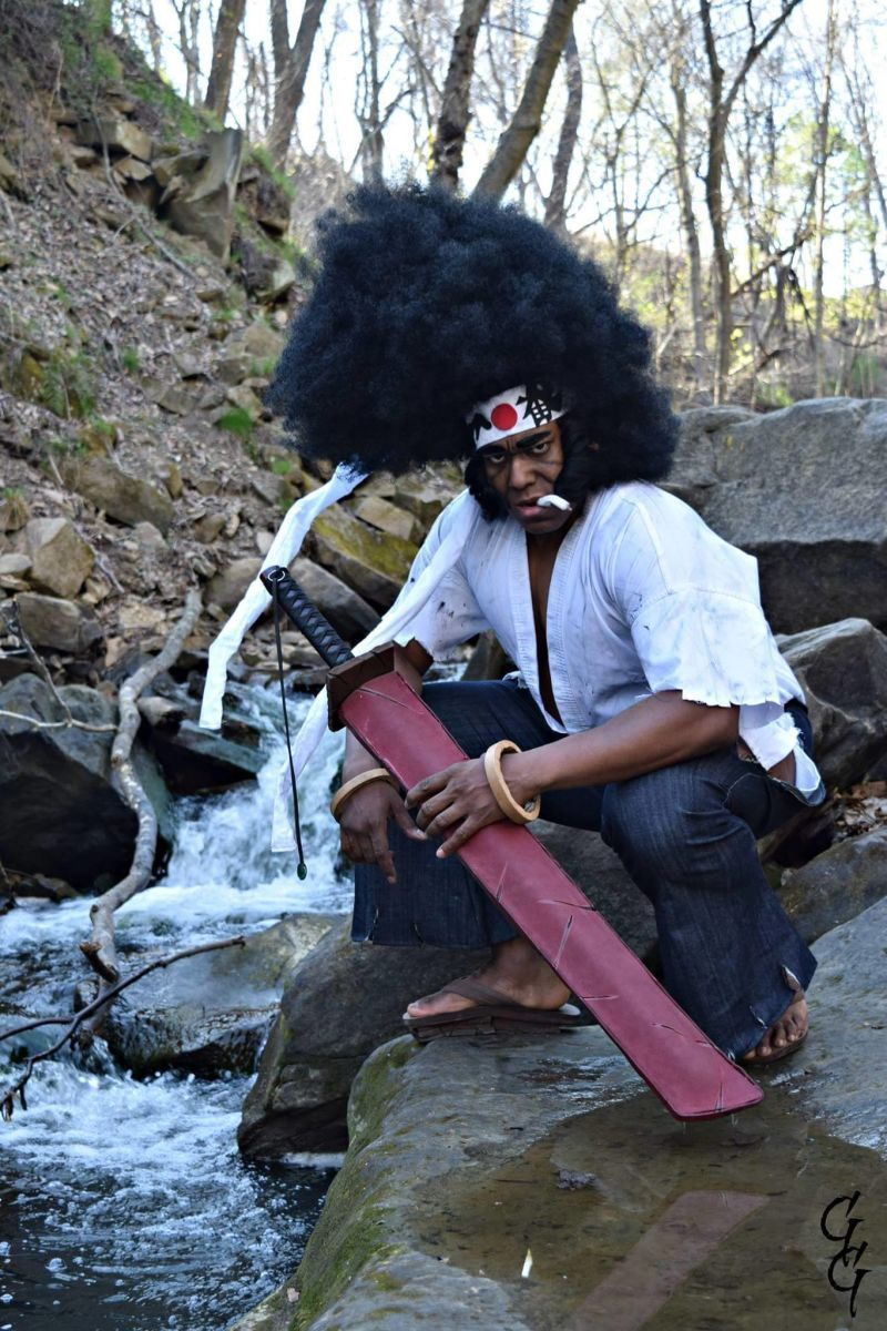 """This is Michael """"Knightmage"""" Wilson as Afro Samurai. The outfit is great but it Pantheon Films"""