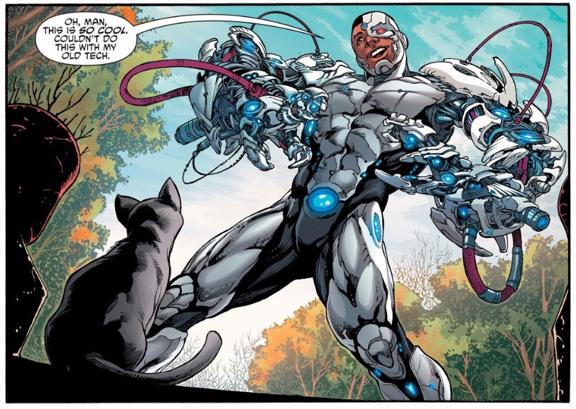 cyborg discovers powers in the most boring way possible