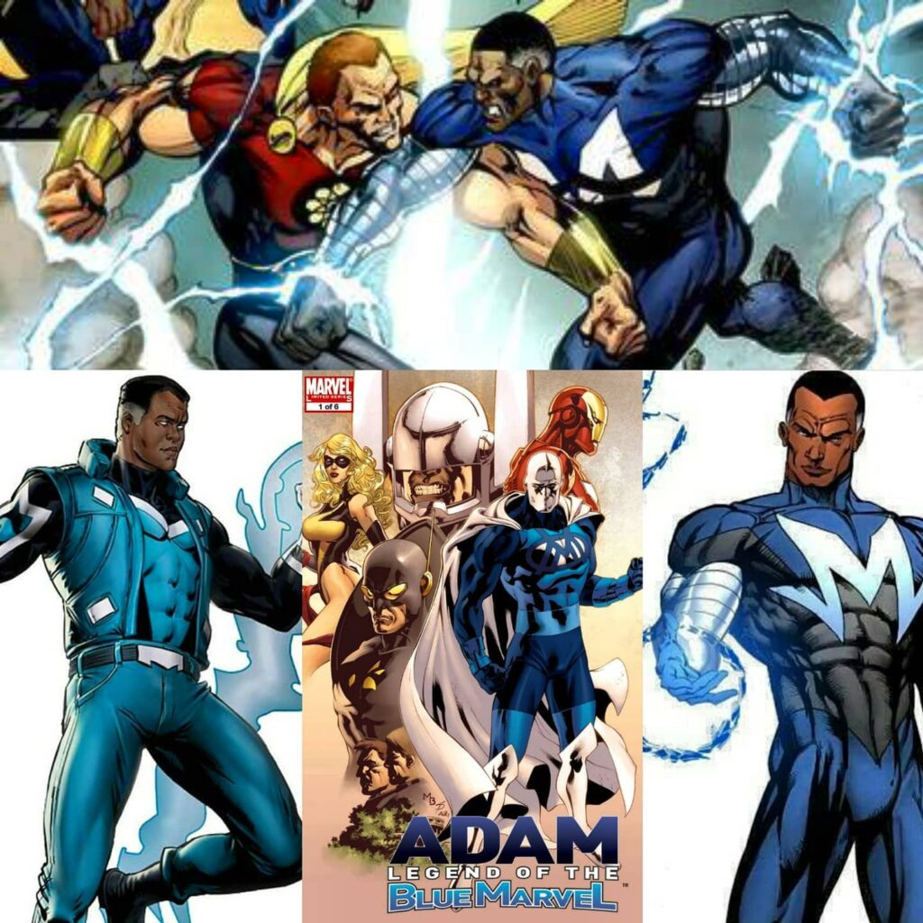 BLUE MARVEL Super Genius Engineer Physicist And Expert In Hand To Hand Combat Manipulating molecules and anti matter is jus